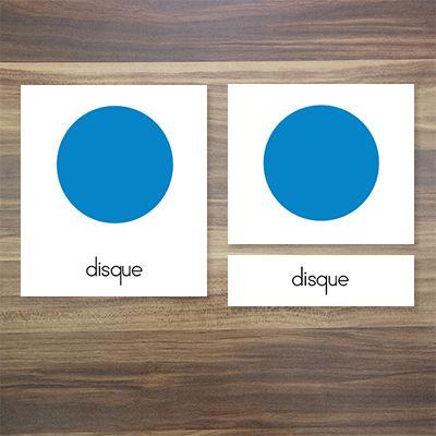 Cartes de nomenclatures en 3 parties Montessori: les formes du cabinet de géométrie