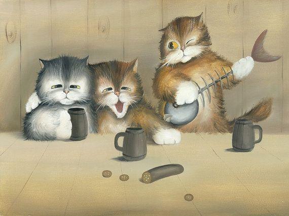 Happy Life N.2 - Kitten / Cat Art,  Print from Original Oil Cat Painting, Fun Cats, Cute Cats,  Bar Accessory Decor via Etsy