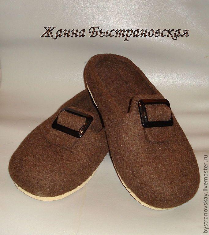 Купить Тапки мужские Темный шоколад - коричневый, тапочки, Тапочки ручной работы, войлочные тапочки