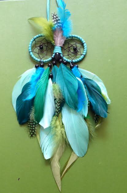 Dream Catcher - Owl - Blue, Turquoise, Green - Owl Dreamcatcher