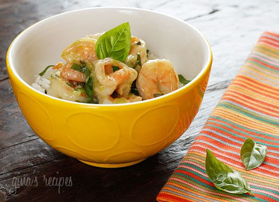 Thai Green Curry Coconut Shrimp with Basil  ( Oooooh people this sounds AWEsome)