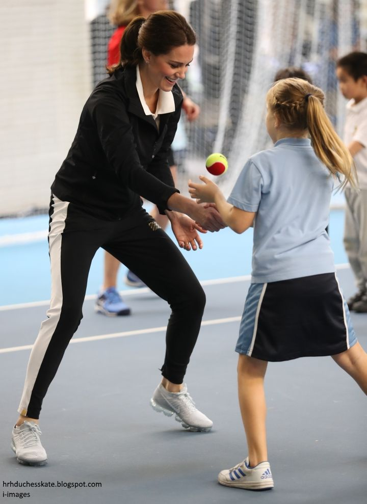 hrhduchesskate: Lawn Tennis Association (LTA) Visit, October 31, 2017-The Duchess of Cambridge and partner take part in the Tennis for Kids skills session