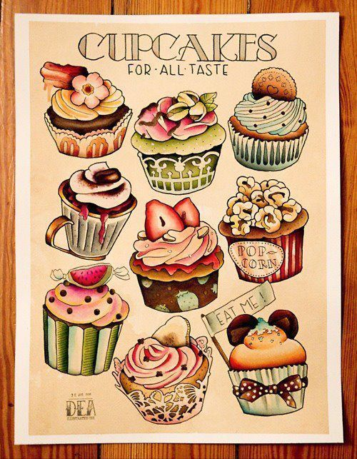 """REPIN:  (""""Maybe a full sleeve of baked goods tattoos..."""")  well, at least I am not the one who is going to tattoo cupcakes all up and down my arm."""