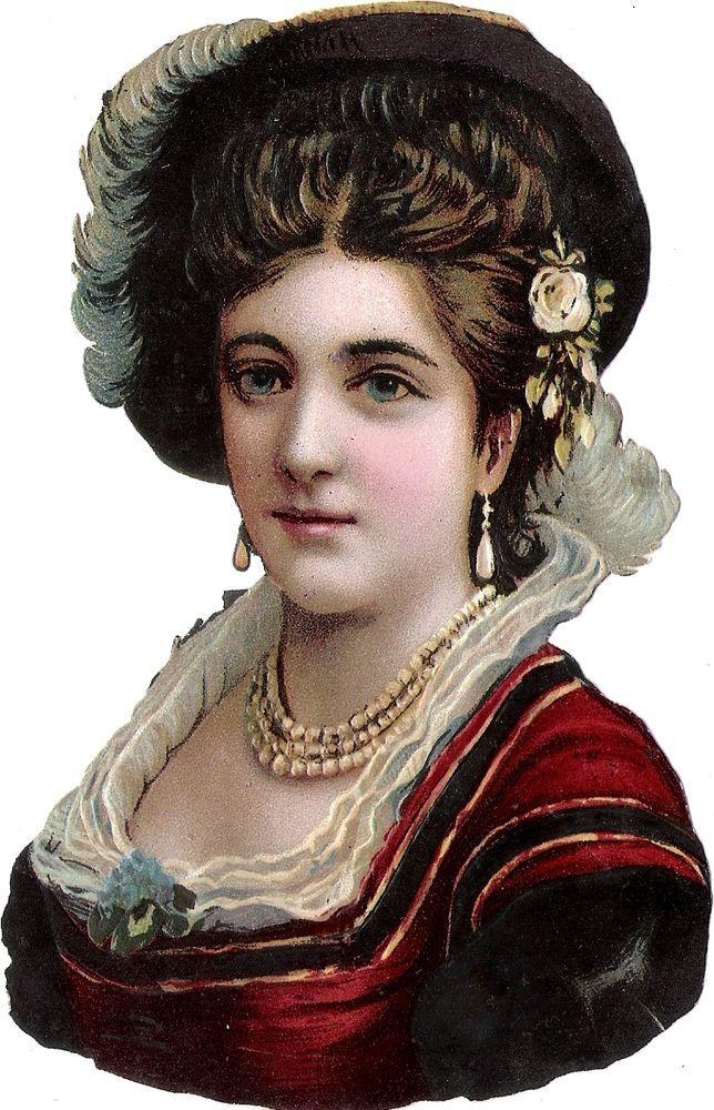Oblaten Glanzbild scrap diecut chromo Dame 15,3cm lady femme buste portrait head: