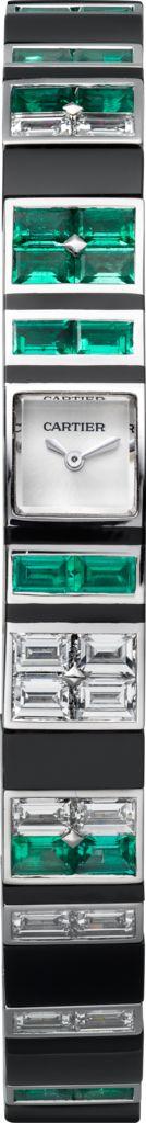 Montre Haute Joaillerie Baguette Emeraude & Onyx Or gris, diamants, émeraudes et onyx