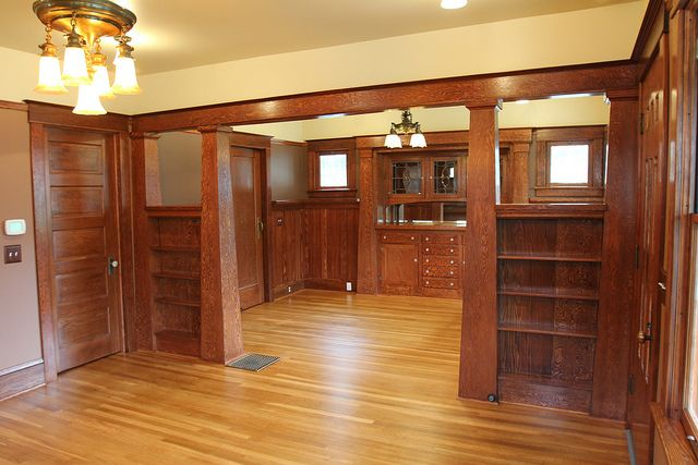 Craftsman Restoration in Portland, Oregon. Painted woodwork was stripped and stained.