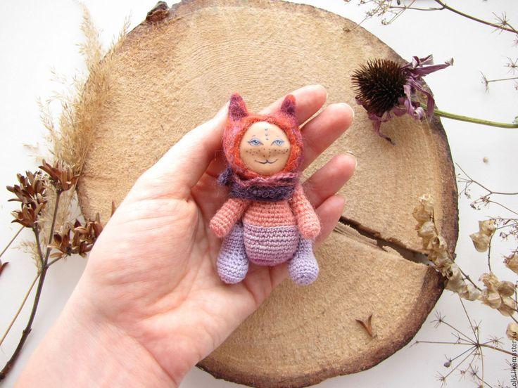 Купить Игрушка валяная вязаная инопланетная кошка - оранжевый, шерсть, игрушка, кошка, кот, Валяние