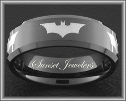 Batman Black Tungsten Wedding Ring for Father's Day.