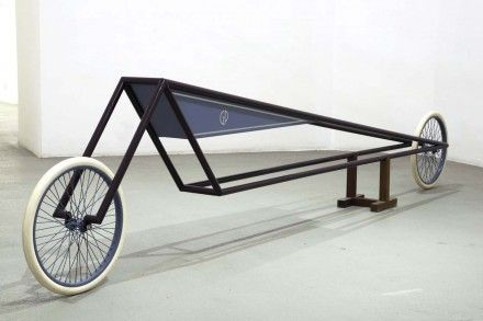 Gianni Piacentino, DARK AMARANTH FRAME VEHICLE WITH BLUE-GRAY TRIANGLE TANK, 1971-72