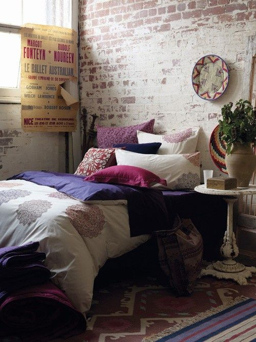 perfect fusion...somehow combines the bohemian, vintage ,and moroccan elements. I would live this, although exchange shabby chic for the Moroccan and use a different color palette.