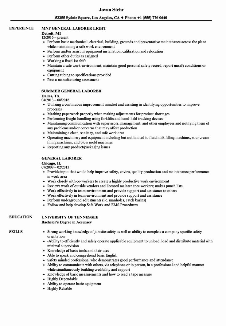23 General Laborer Resume Job Description in 2020 Resume