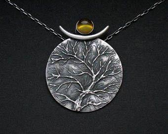 De wijsheid van de boom - Moriko - unieke zilveren hangertje met Baltische barnsteen, handgemaakte, artistieke juwelen, boom hanger, OOAK, gratis verzending