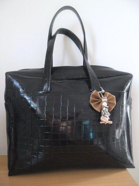 sac à main noir croco de creations-d-un-jour sur DaWanda.com