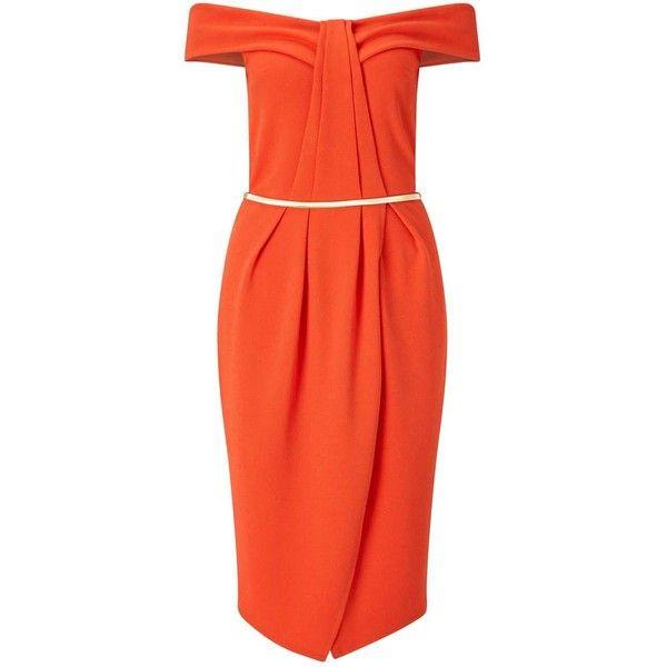 Miss Selfridge Orange Pleat Bandeau Wrap Dress (£22) ❤ liked on Polyvore featuring dresses, orange, wrap dress, red holiday party dress, party dresses, going out dresses and orange midi dress