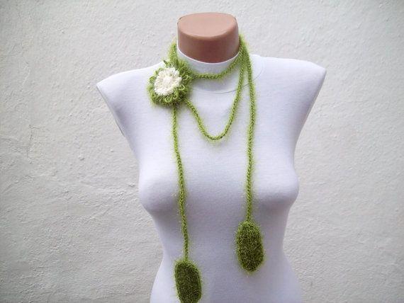 Hand crochet Lariat Scarf Green Cream Flower Lariat by scarfnurlu