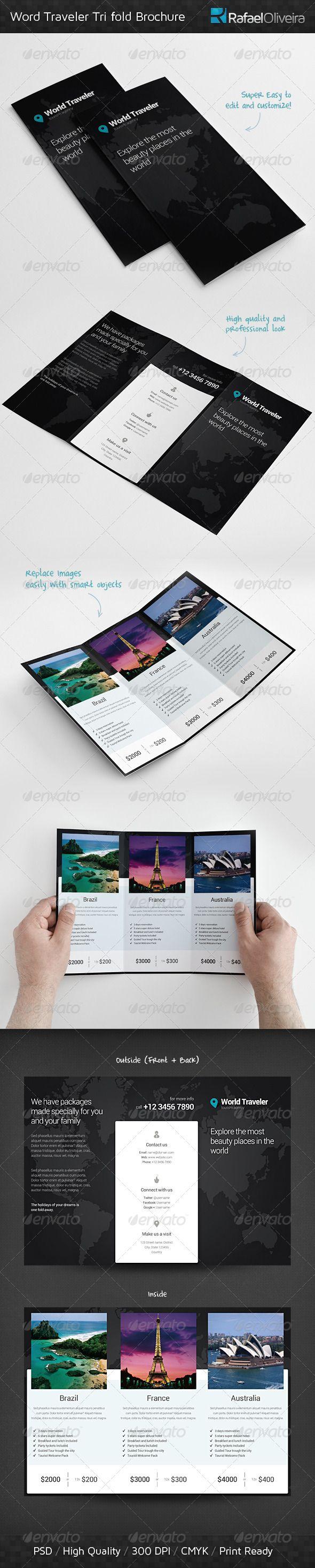World Traveler Tri Fold Brochure - Corporate Brochures | Brochure Inspiration