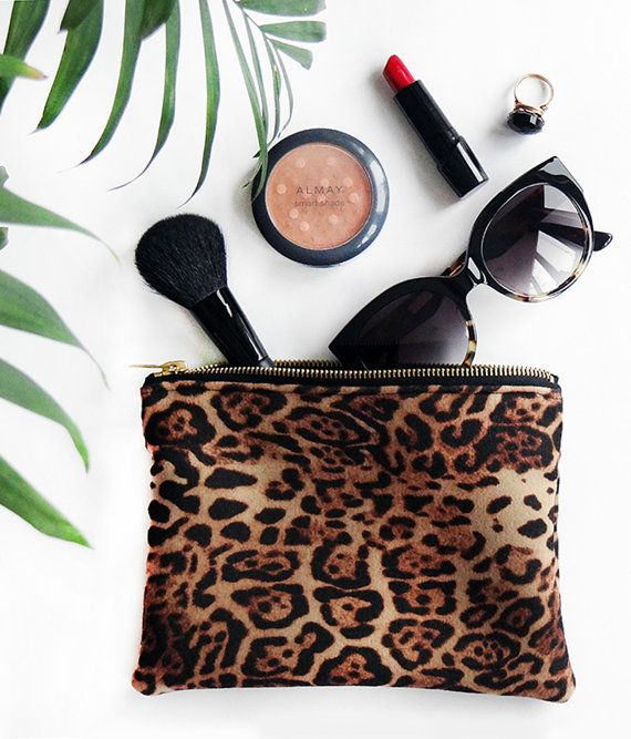 Leopard Pouch, Make-Up Case, Small Clutch, Leopard Print Pouch, Leopard Handbag, Leopard Purse, Accessories Bag, Jewelry Case, Make Up Bag