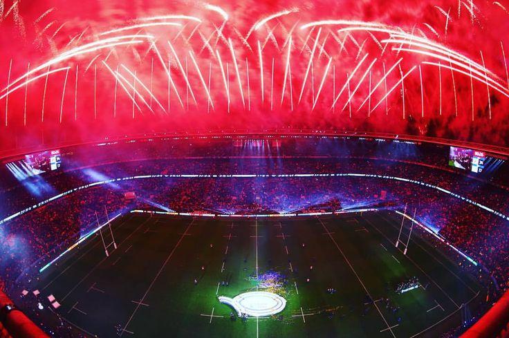 RED SKY AT NIGHT: resplendent Twickenham Stadium #RWC2015 #RWCFinal