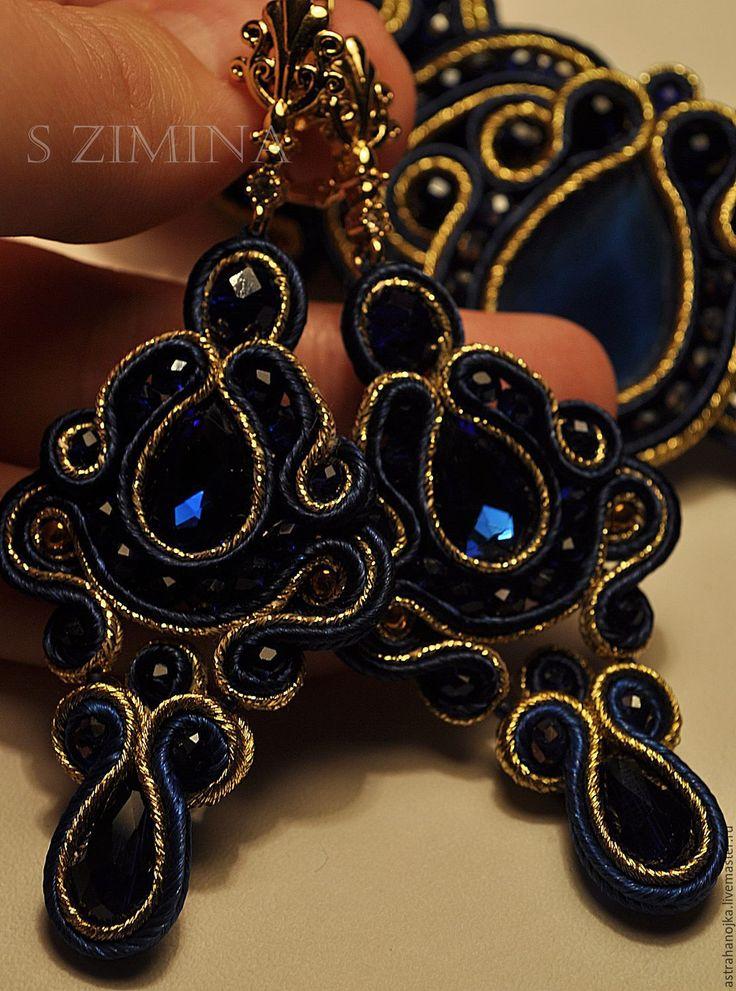 Купить Серьги Марья краса - темно-синий, сутажные украшения, сутажные серьги, сутаж, стразы