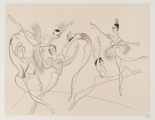 ABT by Al Hirschfeld - Alexander Godunov, Martine Von Hamel, Anthony Dowell, Natalia Makarova, Fernando Bujones, and Cynthia Gregory.
