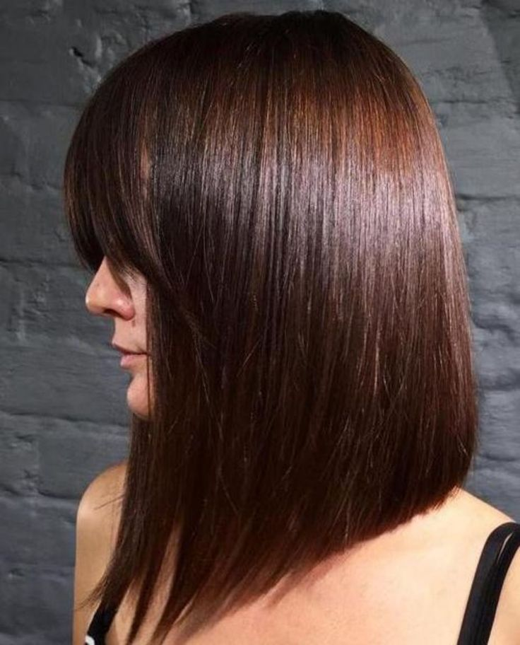 long angled bob with bangs in 2020 | Fine straight hair, Straight hairstyles, Hair color auburn