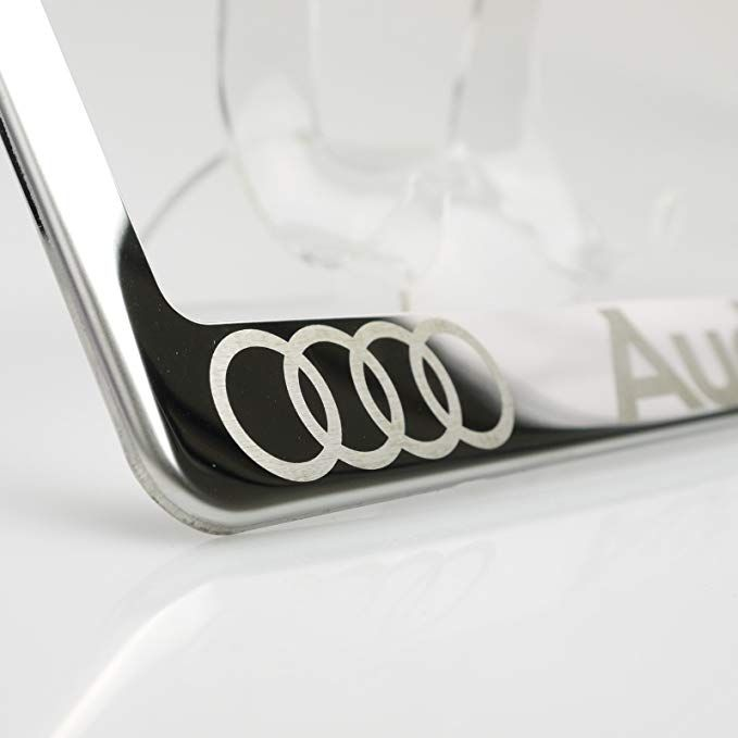 Chrome License Plate Cover Frame Holder New Stainless Steel Polish Mirror w//Cap