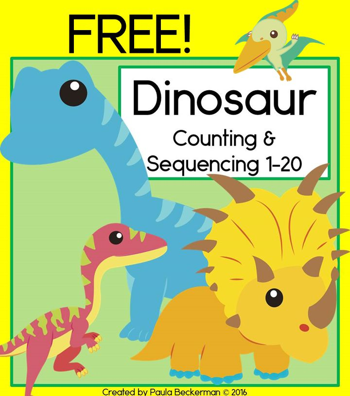 FREE Dinosaur counting and sequencing cards, plus an addition mat and recording sheet.  Perfect math activity for preschool or kindergarten!