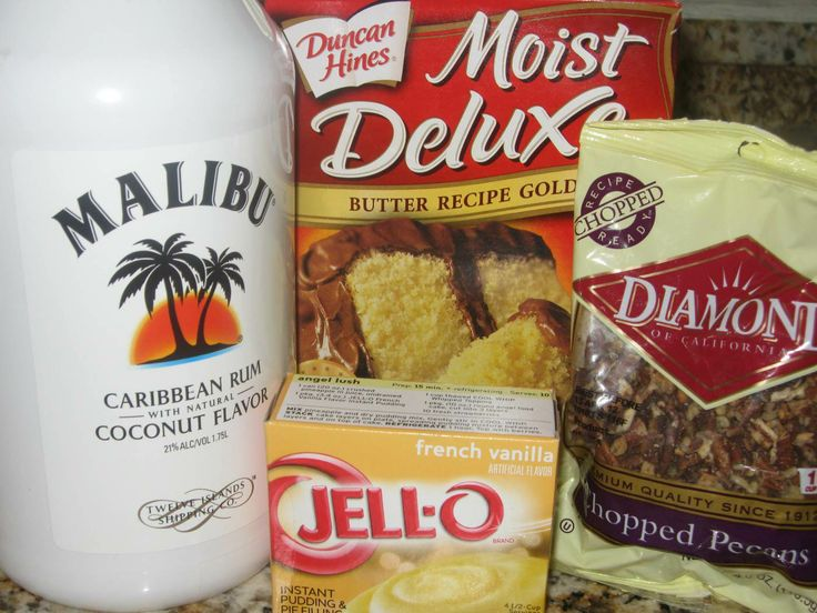 Malibu rum cake--Ooooh yeah! Gotta try this. Malibu is my favorite ! I would like almonds instead of pecans. Good reason for me to buy a bundt pan. lol.