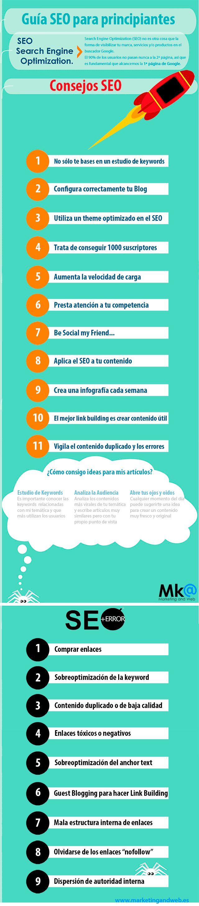 Guía SEO para principiantes #infografia #infographic #seo vía: @marketingandweb