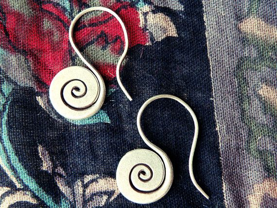 Greek jewelry labyrinth earringsspiral earrings by CarmelaRosa