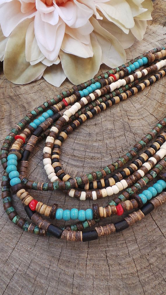 Mens Beaded Necklace Mens Necklace Surfer Style Necklace Mens