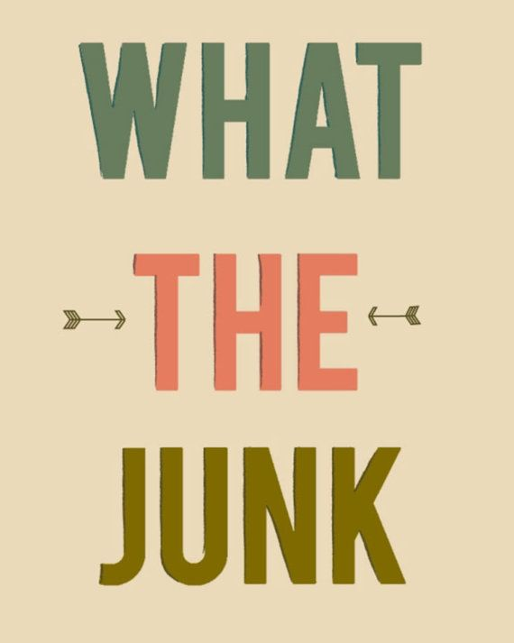 """Typography Art Print """"What The Junk"""" 5x7      My favorite thing ever from Adventure Time!    ♥ This Print was created digitally.    ♥ Signature and year on back    ♥ Print color may be slightly different due to screen variances    ♥ It measures 5x7 and has a small white border    ♥ Printed on high quality, archival matte paper    ♥comes safely in a protective sleeve in a cardboard mailer.    ♥ Does not come framed.    ♥Feel free to convo me for any additional information or questions.  Ships…"""