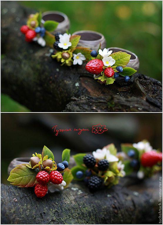 Купить Кольца для салфеток с ягодами - ярко-красный, черный, синий, зеленый, белый, ягоды, клубника