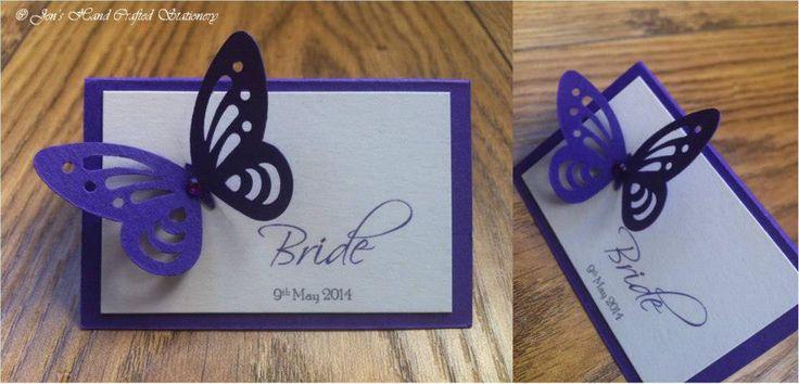Cadburys purple butterfly Wedding Place Card  www.jenshandcraftedstationery.co.uk www.facebook.com/jenshandcraftedstationery