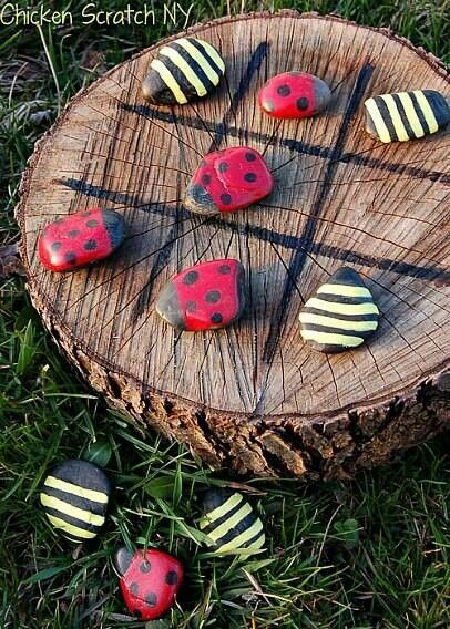 Cute outdoor tic tac toe idea