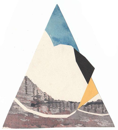 triangles, muted colors, blue, grey, yellow, black. pretty much love this. Daily Paper Collage project by Tom Moglu