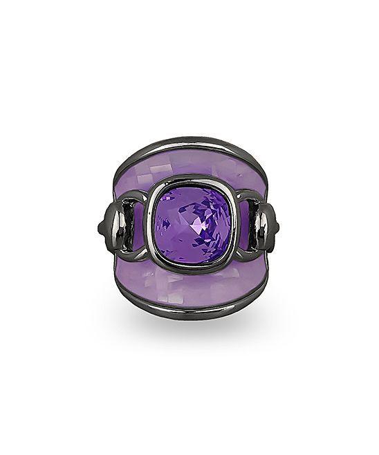 Purple Mother-of-Pearl & Black Rhodium Ring