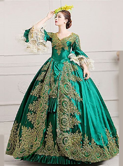 1665d0b28ae2 Marie Antoinette Rococo 18th Century Costume Women's Dress Party Costume  Masquerade Ball Gown Green Vintage Cosplay Lace Satin Poet Sleeve Floor  Length Ball ...