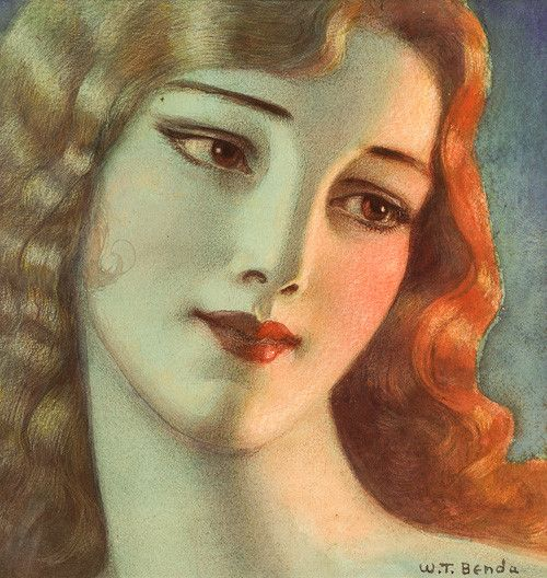 This illustration by artist Wladyslaw Theodore Benda shows a young girl with long blonde hair. The image was done in watercolor, charcoal and colored pencil in 1923. Polish-born Benda lived from 1873