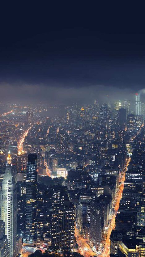 New York City Aerial Night View From Empire State Building Wallpaper Android Wallpapers City Wallpaper City Aesthetic Night City