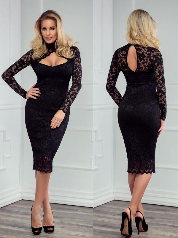 Elegante abito scollato in pizzo Flame Black