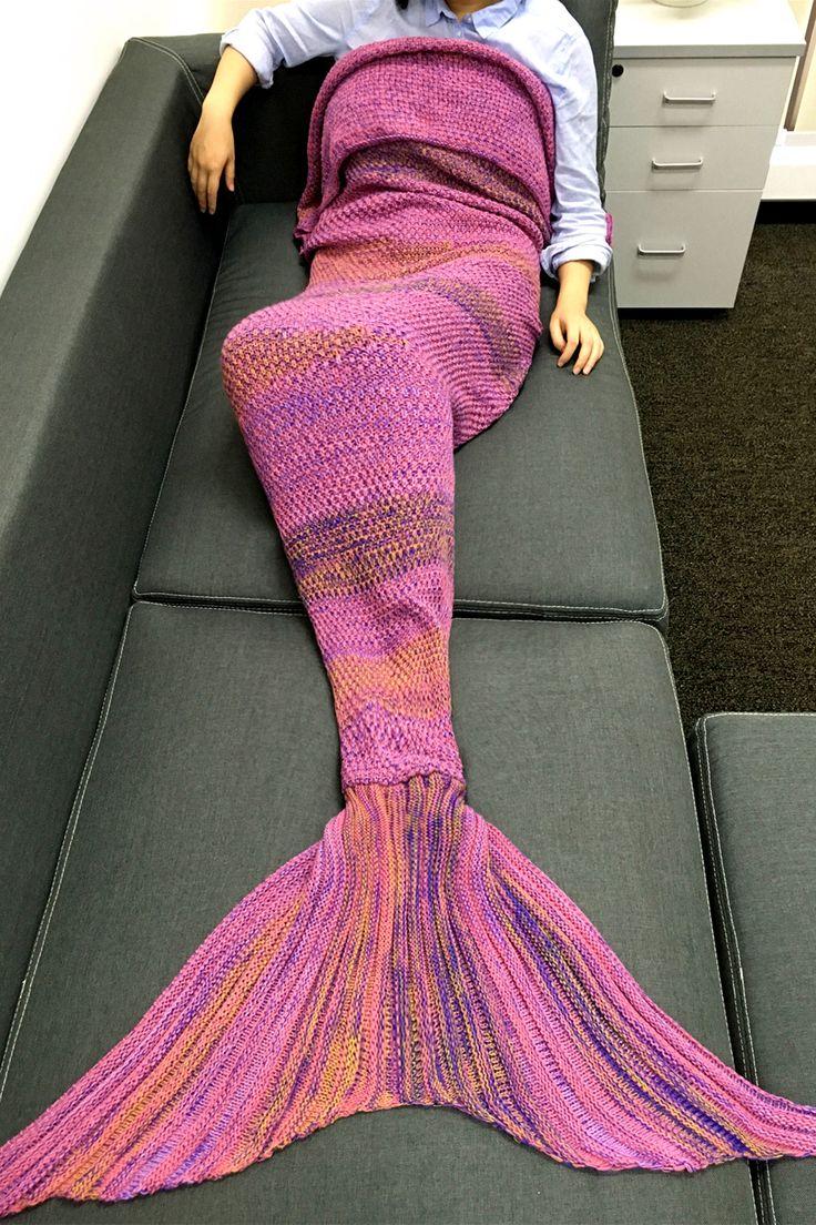 $21.54 High Quality Super Soft Crochet Knitted Mermaid Tail Sofa Blanket