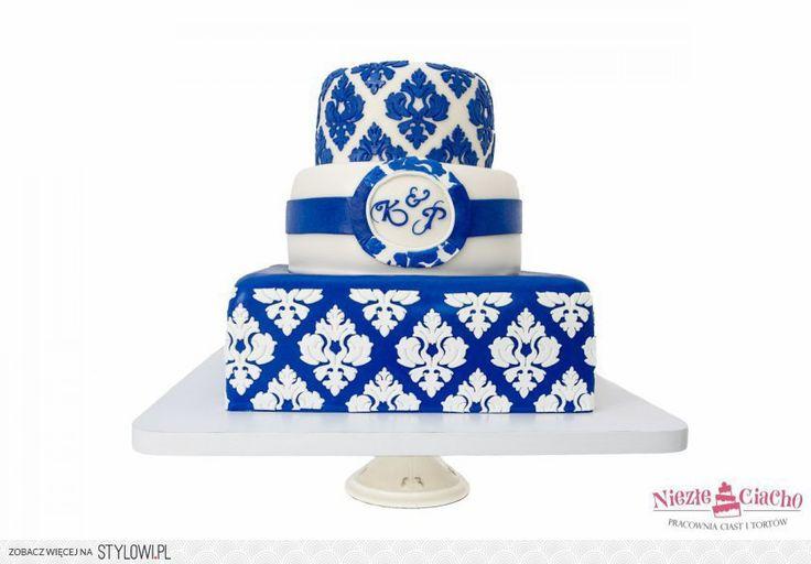 Biało-niebieski tort piętrowy, ażurowy tort na wesele, biało-niebieskie ornamenty, wesele, wzory, Tarnów