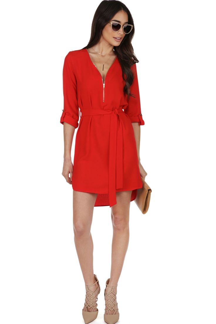 Final Sale- Red Zip Up The Tunic