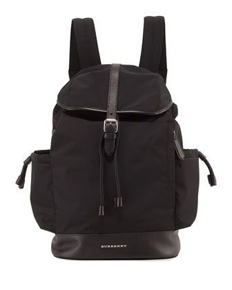 Watson+Flap-Top+Diaper+Bag+Backpack,+Black+by+Burberry+at+Neiman+Marcus.