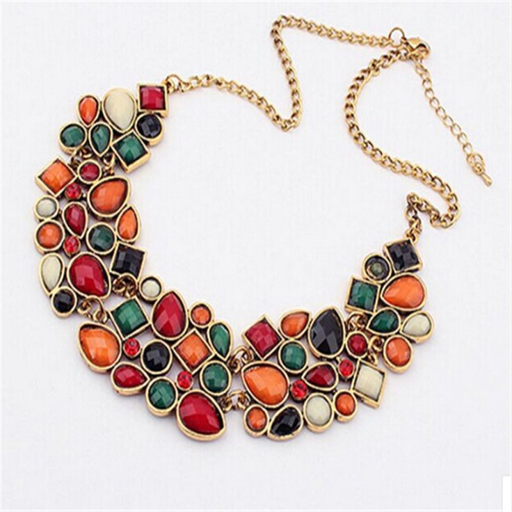 New Hot 2016 High quality color necklace retro luxury fashion wild new color mixing necklace big necklace fine jewelry feast