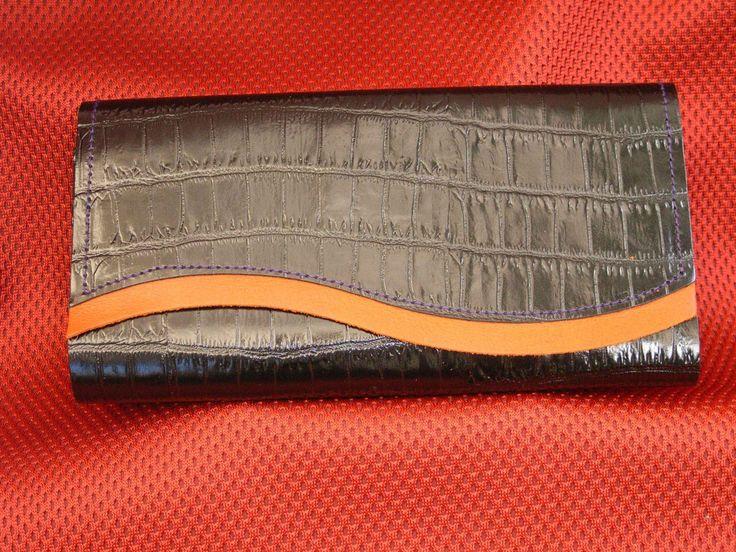 Black Croc Pattern leather with Orange trim