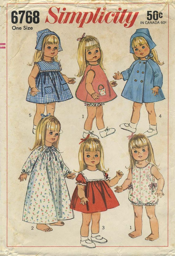 Vintage Doll Clothes Sewing Pattern Wardrobe For Dolls