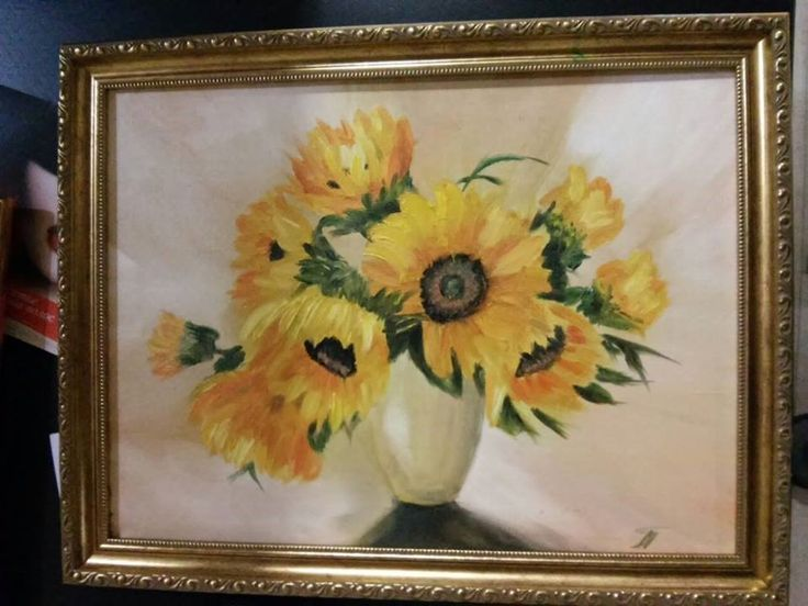 View and buy Bouquet of sunflowers in the vase in frame 30*40 oil painting by ClaireArtCafe on Etsy