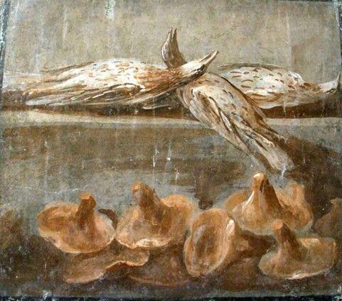 Roman fresco depicting birds and mushrooms, Pompeii.